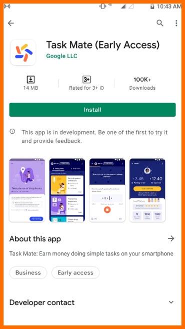 Install Google Task Mate App  Step 1